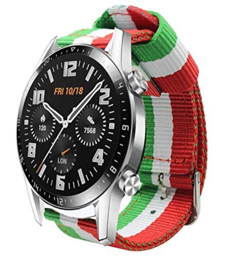 Estuyoya - Bracciale in Nylon compatibile con Huawei Watch GT 2   Huawei Watch Sport GT Classic  Fashion GT Active Colori Bandiera italiana, 22 mm Traspirante Stile Sportivo Casual