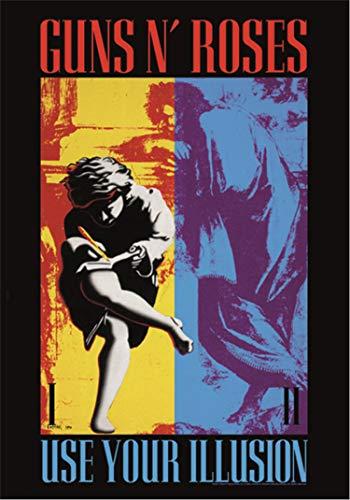 Heart Rock Bandiera Originale Guns N' Roses Use Your Illusion, Tessuto, Multicolore, 110x75x0.1 cm