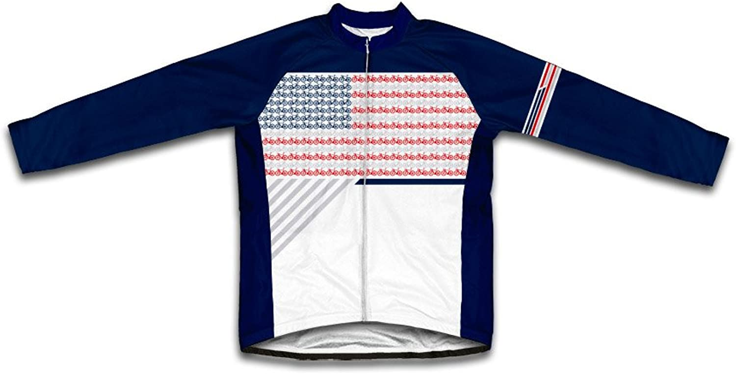 ScudoPro USA Bike Flag Long Sleeve Cycling Jersey for Men