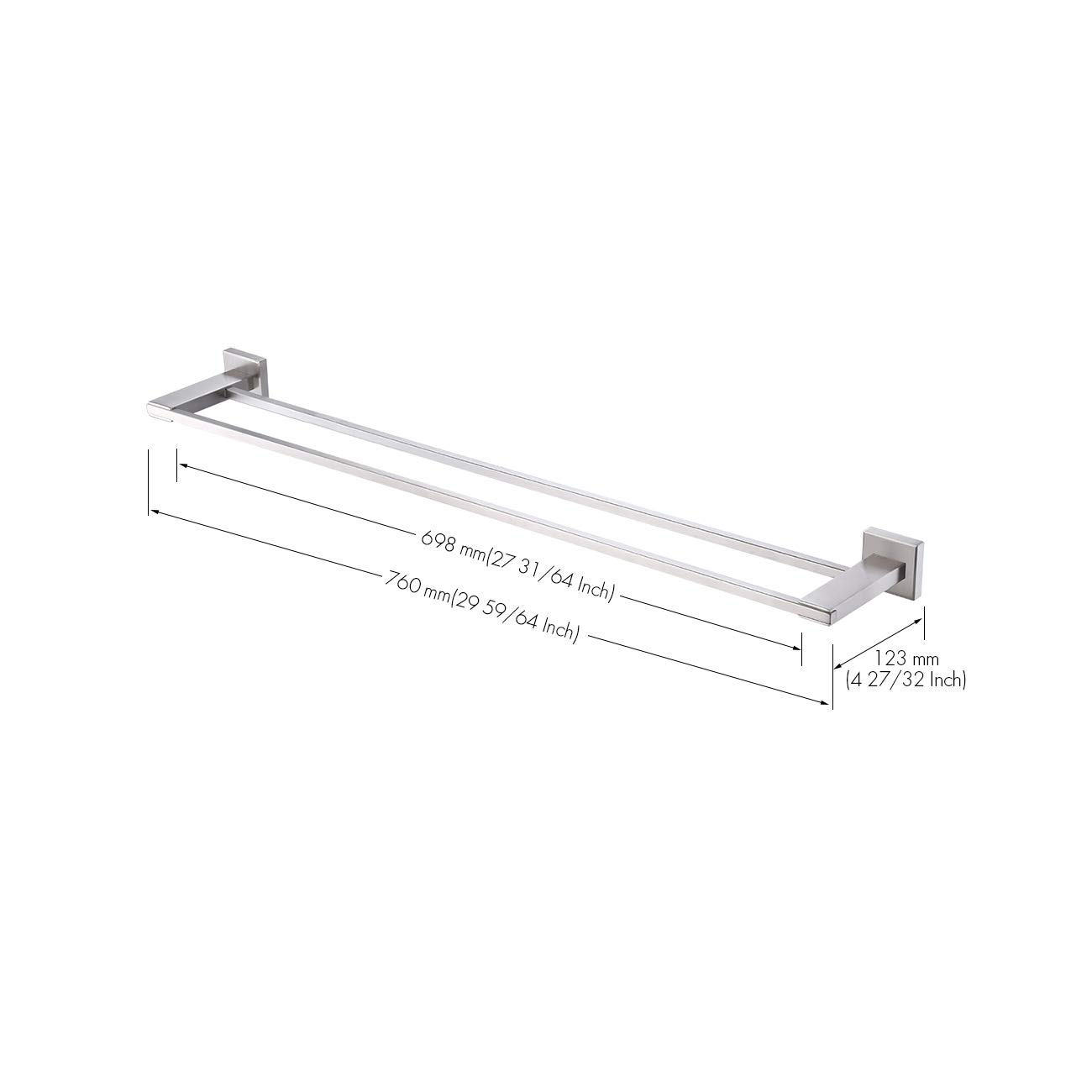 Amazon Com Kes 30 Inch Double Towel Bar Sus 304 Stainless Steel Bathroom Rectangular Towel Rack 30 Inch Bath Towel Holder Rustproof Wall Mount Brushed Finish A2401s75 2 Kitchen Dining