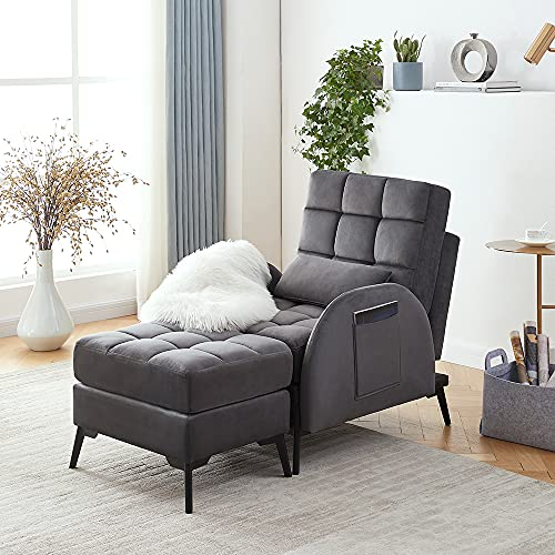 Panana Single Sofa Bed Velvet Armchair Soft Sleeper Lounger Futon Couch Occasional Chair Sofa Tub Chair with Footstool For Living Room Bedroom Office Furniture (Gray)