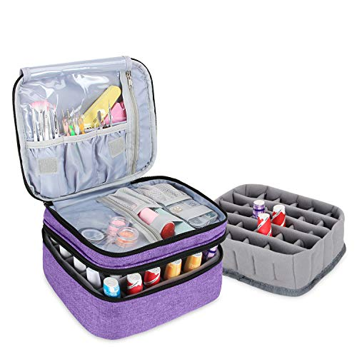 Luxja Nail Polish Carrying Case - Holds 30 Bottles (15ml - 0.5 fl.oz), Double-layer Organizer for Nail Polish and Manicure Set, Purple (Bag Only)