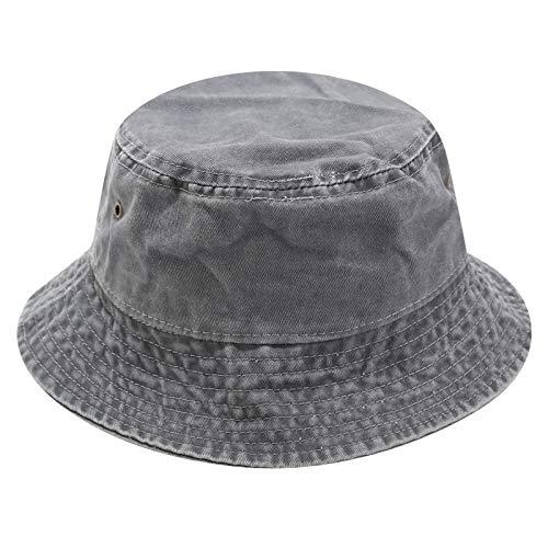 JFAN Sombreros de Pescador Vintage Algodón Sombrero de Cubo de Color Liso Lavado Gorra de Sol de Viaje para Hombre y Mujer