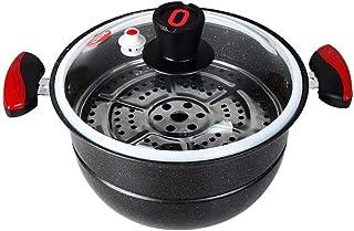 XXDTG Olla de presión con Tapa de Vidrio, Acero Inoxidable, Utensilios de Cocina, Compatible con inducción, Gas, Electricidad Quemador for cocinar, Lavar en lavavajillas