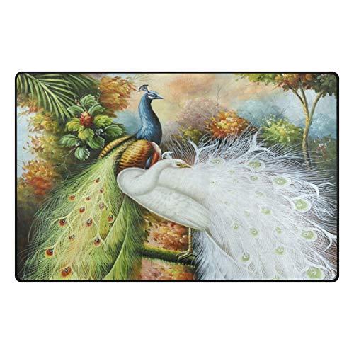 HEOEH Beauté Paon Vert Blanc Paillasson Zone Tapis Tapis antidérapant Tapis de Sol Intérieur ou extérieur 78,7 x 50,8 cm 60 x 39 inch Multicolore