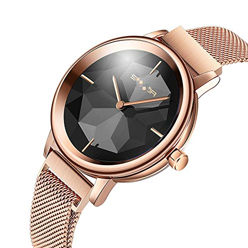Reloj para Estudiante, Versión Coreana, Moda Simple, Reloj con Imán Impermeable A La Moda Superficie Negra Oro Rosa
