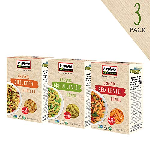 Explore Cuisine Organic Pasta Variety Pack - Chickpea Fusilli, Green Lentil Penne, Red Lentil Penne - 1 Box Each, 8 oz - High Protein, Gluten Free Pasta - 12 Total Servings