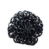 [フレンチパヴェ] cawaii キラキラ ビーズ 花 マグネット ブローチ 磁石 アクセサリー 小物 胸飾り ブラック 黒