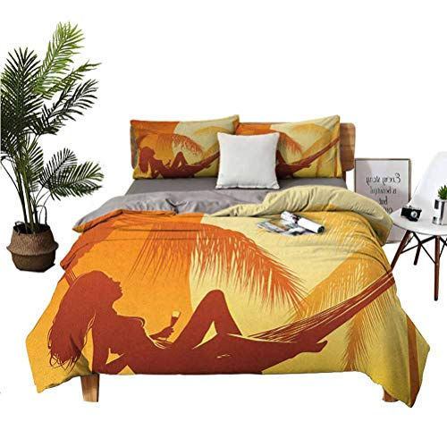 LANQIAO Extra Large Duvet Cover Silhouette of Sexy Woman Lying in a Hammock at Majestic Sunset View Dream Print,Boyfriend 104x89 inch