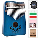 XSWY 17 Tasten EQ Kalimba Mahagoni Thumb Single Board Klavier Kalimba Finger Klavier mit Elektro-Pickup Tuner Hammer for Anfänger Einfach zu verwenden (Farbe : Blau)