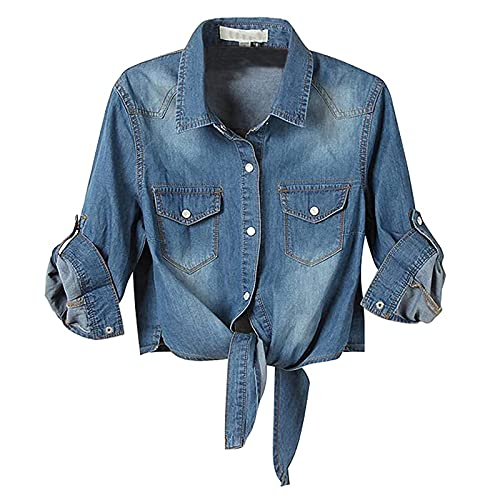 VEMOW Camisa de Manga 3/4 con Botón de Mezclilla para Mujer Camisa de Trabajo Informal, Moda Camisetas de Mezclilla Nudo Superior Vaquero Blusas con Corbata en el Dobladillo Anudada(A Azul oscuro,XL)