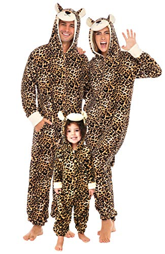 Alexander Del Rossa Women's Warm Fleece One Piece Footed Pajamas, Adult Onesie with Hood, Medium Big Cat Non-footed (A0322CATMD)