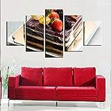 binghongcha Pintura 5 Lienzo no Tejido impresión Restaurante de postres de Tartas de Arte HD decoración de Interiores