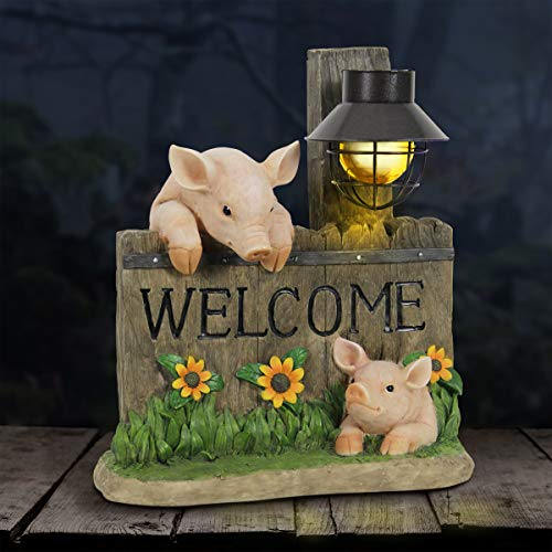 Exhart Pig Statue – Pig Welcome Sign w/Solar Decorative Lantern Interior Lights  13  L x 8  W x 15  H Animal Statue - Weather Resistant Resin Statue  Pig Garden Décor