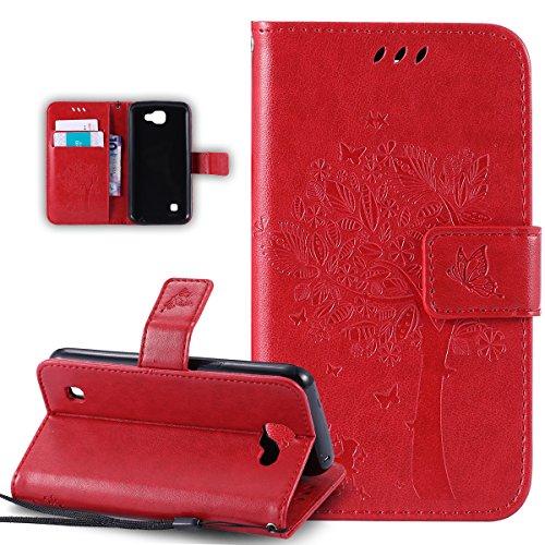 Coque LG K4,Etui LG K4,ikasus Gaufrage Embosser Chat papillon Fleur Floral arbre Housse en Cuir PU Etui Housse en Cuir Portefeuille de Protection Flip Case Etui Coque pour LG K4,Rouge