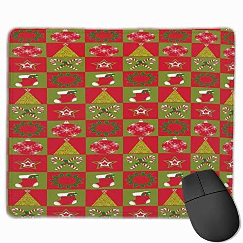 Muiskussen, Bureau muismat, Kerstmis Open haard Sokken voor Surprise Stars Ornamenten Driehoek Pines Afbeelding Standaard Grootte Olijf Groen