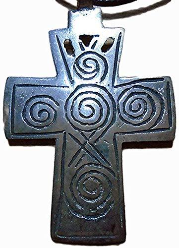 Ethiopisches Antikes Kreuz 64 mm x 44 mm Anhänger Einzigartiger Antik-Silber Gravur Spiralen Halskette, schöne 925 versilberte Koptik, mit Samt-Geschenkbeutel