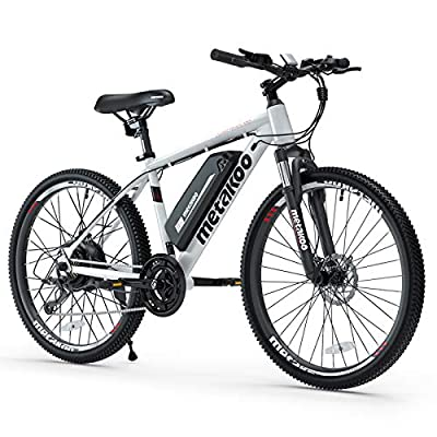 """METAKOO 26"""" Electric Mountain Bike, 3 Hours Fast Charge 36V/10.4Ah Removable Lithium-Ion Battery, BAFANG 350W Brushless Motor, Electric Commuter Bicycle with Suspension Fork (Cybertrack 100)"""