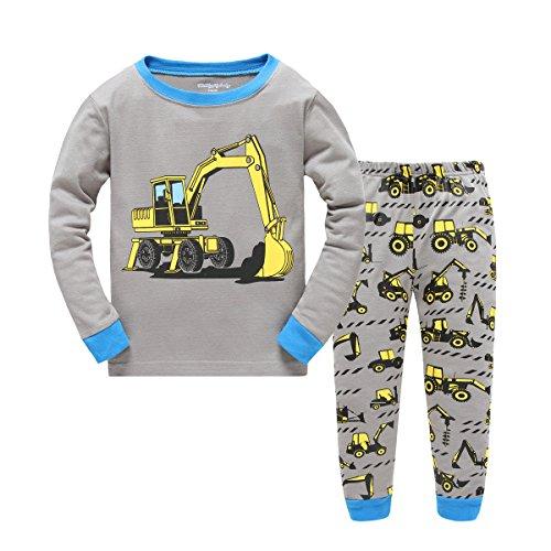 Showu bambini e Ragazzi Manica Lunga Completo Camicia + Pantaloni Clothing Outfits Pigiama Set (Scavare, 4-5 Anni)