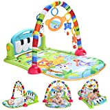 Large Baby Play Gym,Thick Activity Mat,Baby Piano Playmat with Sounds,Blue Infant Baby Care