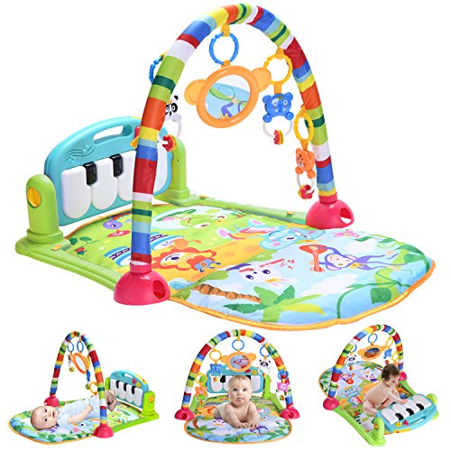 Large Baby Play Gym,Thick Activity Mat,Baby Piano Playmat with Sounds,Blue Infant Baby Care Jungle Gym,Breathable Play Mats for Toddlers Tummy Time, Gift Toys for 0-3-6-9-12Months Boys, Girls