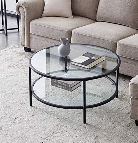 Couchtisch Rund Glasplatte Beistelltisch, 2 Tier Glas Sofatisch Moderner Teetisch, Großem Stauraum, für Wohnzimmer, 85 x 85 x 45cm