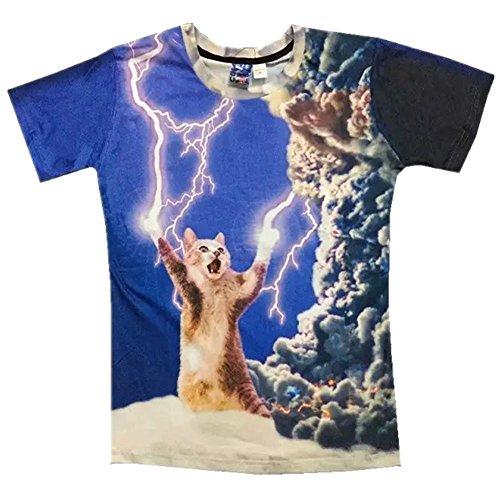 1911NC 配送無料 メンズ 春 夏 ストリート 原宿系 デザイン 綿 コットン ストレッチ サマー モード 動物 t-shirt 3Dプリント おもしろ おしゃれ ファッション 雷 可愛い 猫 柄 Tシャツ 半袖