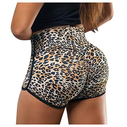 Amlaiworld Damen Shorts Sport Yoga Leopardenmuster Kurze Hose Sweatpants Laufshorts Training Gym Yoga Fitness Yoga Hohe Taille Jogginghose Radlerhose Fitnesshose Laufhose