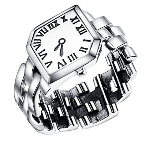 ibasenice Finger Ring Uhr 925 Sterling Silber Ring Einstellbare Ring Uhr für Frauen Männer Geburtstag Geschenke