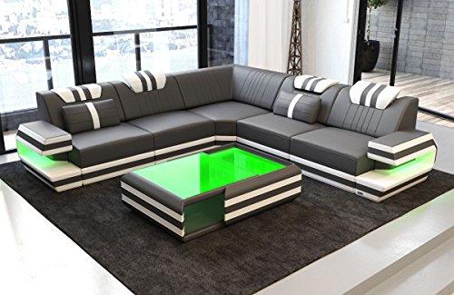 Sofa Dreams Couch Ragusa L Form mit Lederbezug und LED Beleuchtung