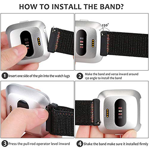 WNIPH Band Compatible with Fitbit Versa/Versa 2/Versa Lite/Versa SE/ Quick Release Soft Nylon Lightweight Breathable Watch Strap Replacement Sport Wristband Accessories for Women Men (Berry)