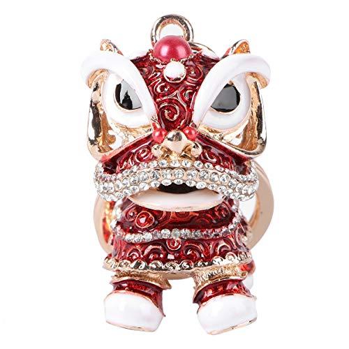 Amosfun Llavero con diseño de león chino, con brillantes de imitación, diseño de danza, león, colgante de animal, brillante, para Navidad, primavera 2021, regalo de cumpleaños, color rojo
