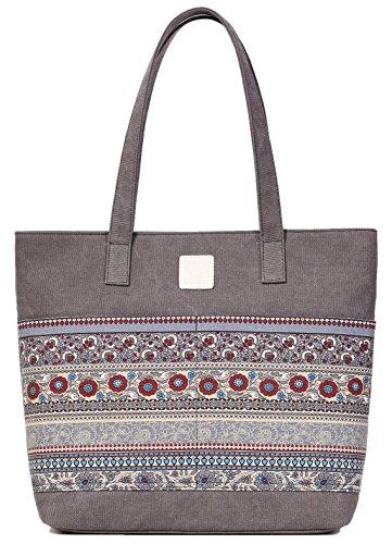 DCCN Damen Canvas Handtasche Bohemian Canvas Shopper 33 * 39 * 10cm