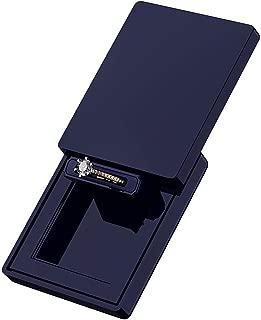 MONOLIX Slim Engagement Ring Box, Thin Unique Sliding Lid, Elegant Discreet Secret Surprise Marriage Wedding Proposal Case (Navy, Mini)