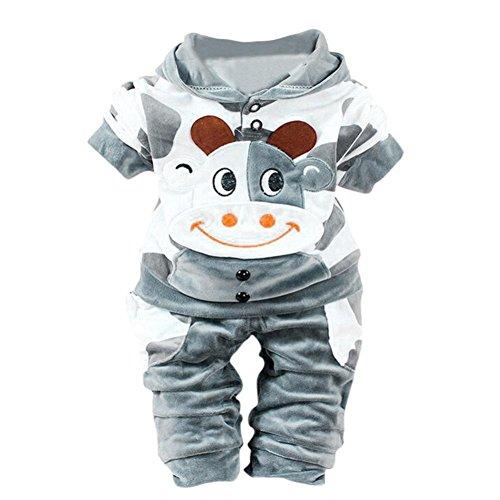 manadlian Ropa Bebé, Recién Nacido Bebé Unisex Lindo Vaca Impresión Sudaderas con Capucha y Pantalones (6-12 Months, Gris)