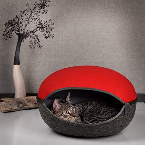 CanadianCat Company ® | Katzenhöhle, Katzenest in Canada-Rot-anthrazit - das Katzenbett mit Stil