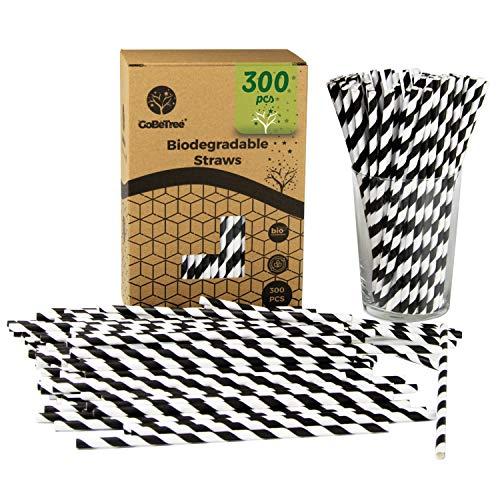 300 cannucce di carta a strisce nere ecologiche monouso compostabili. Cañitas per feste, compleanni e celebrazioni. Bevande calde e fredde.