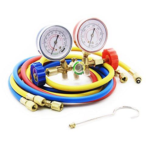 Raomdityat Diagnostic Manifold Gauge Set Charging Hose R12 R22 R502 AC Refrigerant 5FT