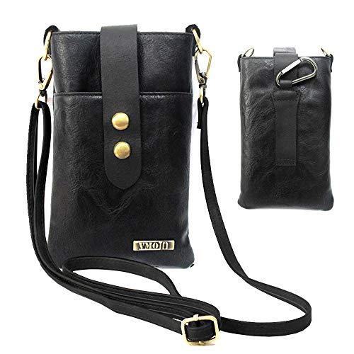 VMOJO Retro-Umhängetasche aus Leder, Gürtelschlaufe, Mini-Umhängetasche aus Leder, für Handys unter 17,8 cm (7 Zoll), Schwarz