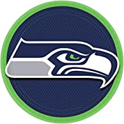 """8 Round paper plates Measures 9"""" Invite your fellow fans over to a table honoring your favorite team Matches our other items in the """"Seattle Seahawks"""" collection"""