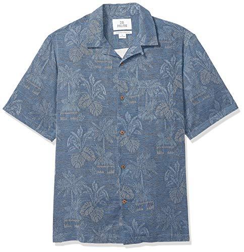 Marchio Amazon - 28 Palms, camicia da uomo, in 100% seta testurizzata, motivo: foglie tropicali, jacquard, Dainty, US S (EU S)