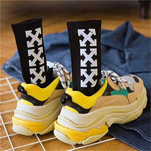 UKKD calcetín 4 Pares De Patrón Cruzado De Moda Afuera Harajukutrident Inconformista Via Orgullo Hombres Calcetines Odd Future Pop,Oro