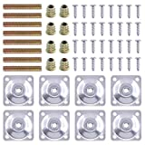 Swpeet 8 Sets Leg Mounting Plates with Hanger Bolts Screws, Furniture Leg Attachment Plates Industrial Strength T-Plate M8 Sofa Legs with Hanger Bolts