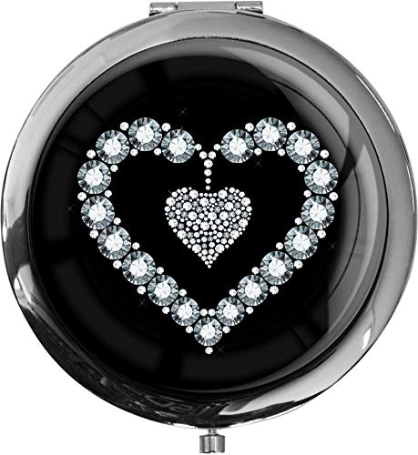 Premium - miroir de poche sous forme ronde Coeur en argent