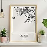 Blatt Neapel Stadtplan nordischen Stil schwarz und weiß.