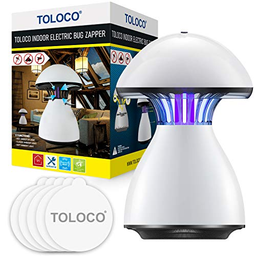 TOLOCO Mosquito Trap, Indoor Mosquito Killer - Light Sensor Control, UV Light, Fans, Glue Boards Mosquito Catcher with Mosquito Killer Light, Night Light & Atmosphere Light Mode, DH - MW02