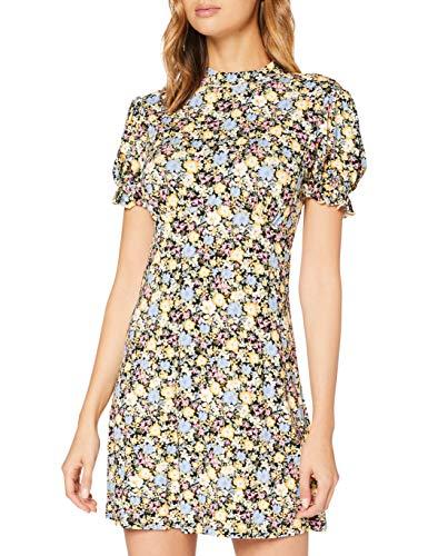 Miss Selfridge High Neck Ditsy SS Tea Dress Vestito Casual, Avorio, 8 Donna