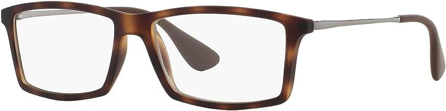 Ray-Ban RX7021 Mathew Rectangular Eyeglass Frames, Rubber Havana/Demo Lens, 55 mm