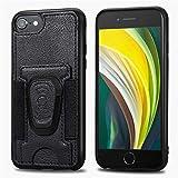 BINGRAN iPhone Se (2020) Coque,360°Support Pivotant Ceinture en Cuir Fente pour Carte Voiture Absorption Magnétique Support Fixe Antichoc Coque pour Apple iPhone Se (2020)-Noir