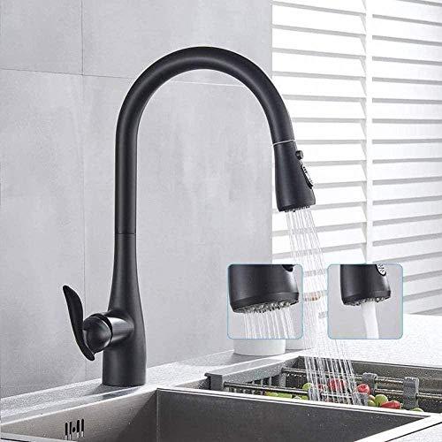 Grifo negro mate para montaje en cubierta, fregadero de cocina, grifo mezclador frío caliente, extraíble, botón de pausa de flujo de pulverización de 360 grados, 3 funciones